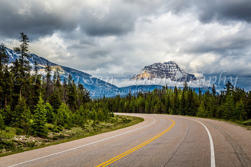 The Yellowhead Highway 16 in Jasper National Park, Alberta, Canada.