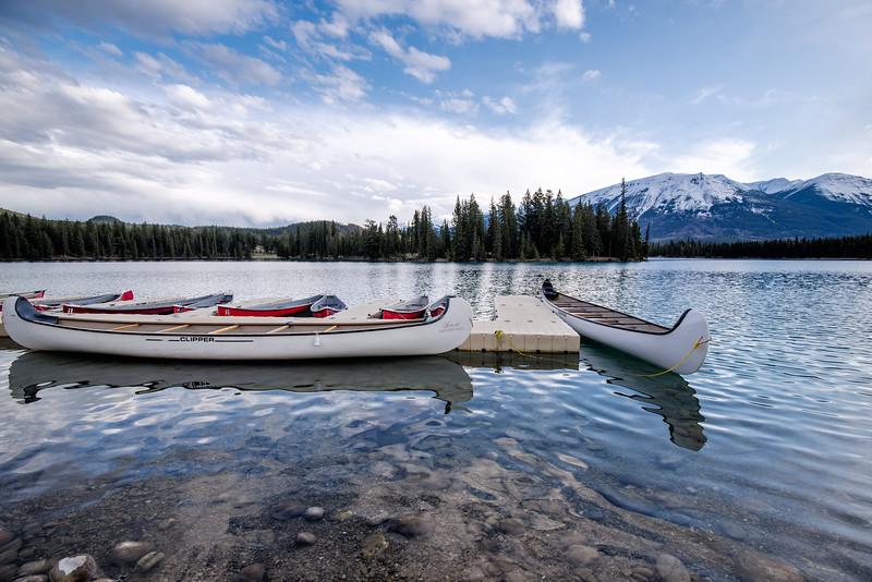 Awaiting Canoes onLac Beauvert, Jasper National Park