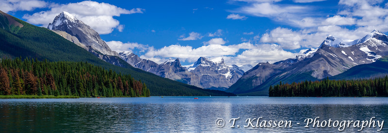 Maligne Lake with reflections, Jasper National Park, Alberta, Canada.