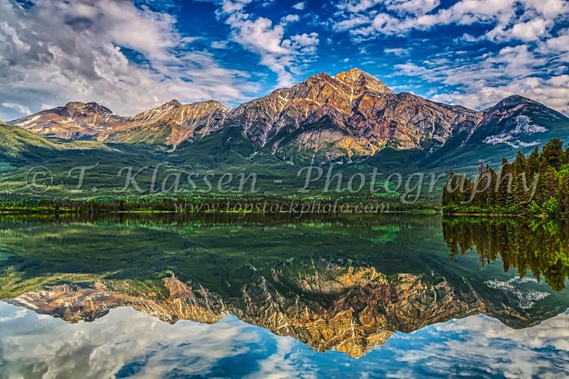 Pyramid Mountain reflections in Pyramid Lake in Jasper National Park, Alberta, Canada.
