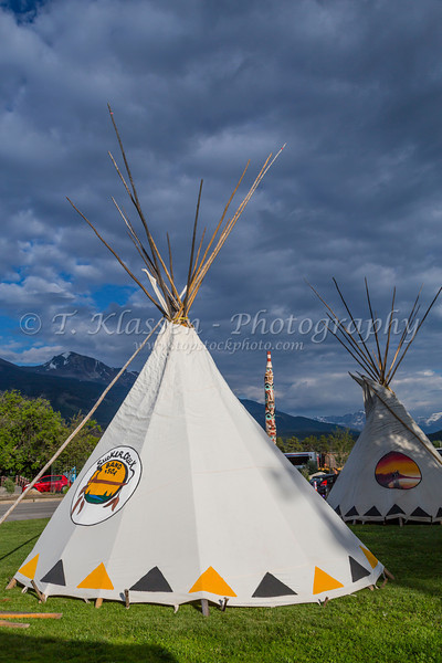 An aboriginal teepee at a park in Jasper, Alberta, Canada.