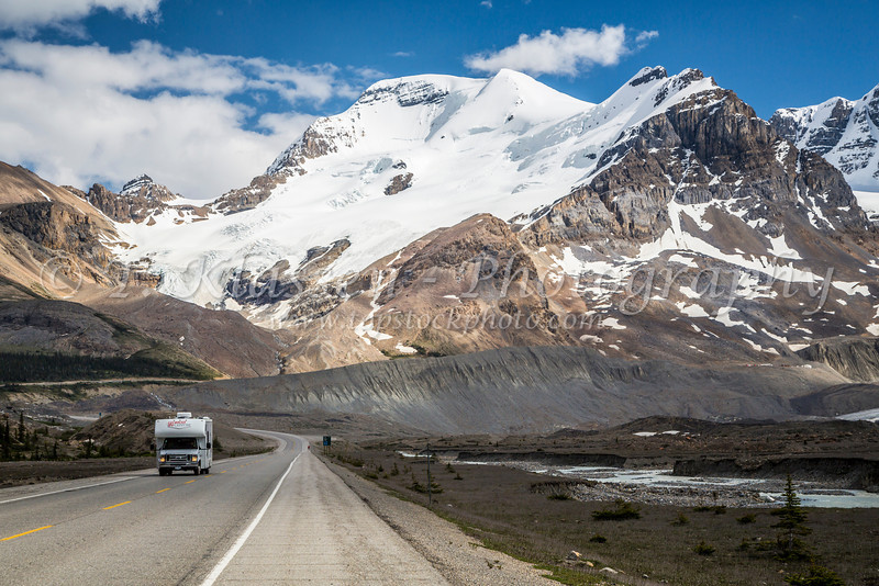 Mount Athabasca and the Icefields Parkway approaching the Columbia Icefields in Jasper National Park, Alberta, Canada.