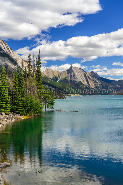 Medicine Lake with reflections in Jasper mNational Park, Alberta, Canada.