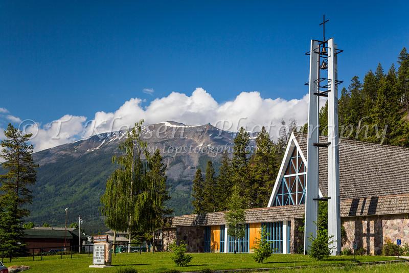 Our Lady of Lourdes Catholic Church in Jasper, Alberta, Canada.