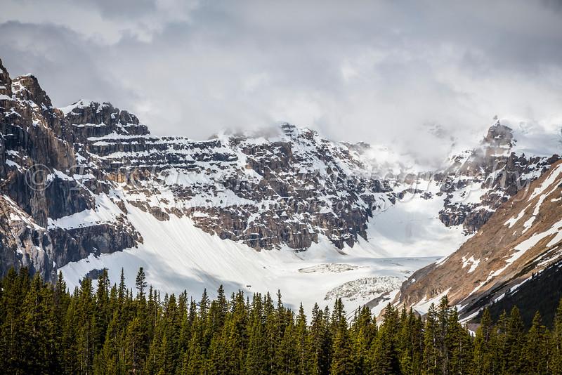 Glaciated mountain peaks near the Columbia Icefields in Jasper National Park, Alberta, Canada.