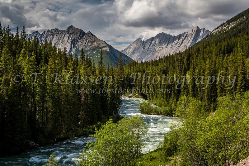 A mountain stream near Maligne Lake in Jasper National Park, Alberta, Canada.