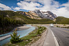 Travel scene with the Icefields Parkway near the Columbia Icefields in Jasper National Park, Alberta, Canada.