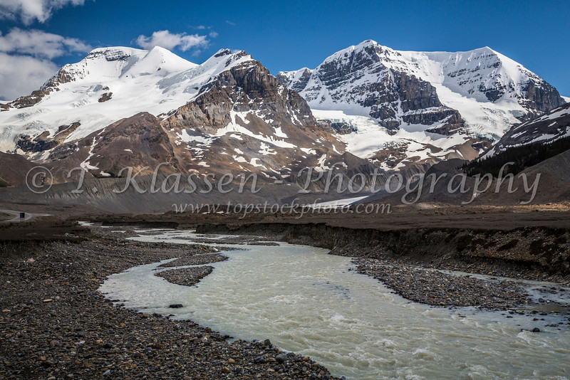 Mount Athabasca and Mount Andromeda with the Athabasca River Valley along the Icefields Parkway in Jasper National Park, Alberta, Canada.