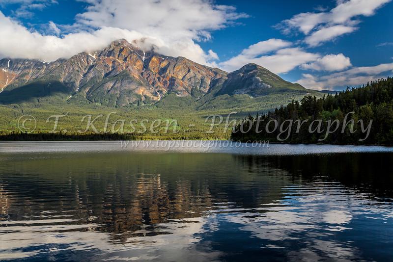 Pyramid Lake with reflections of Pyramid Mountain in Jasper National Park, Alberta, Canada.