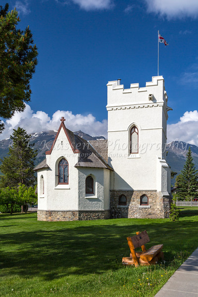 St. Mary and St. George Anglican Episcopale Church in Jasper, Alberta, Canada.