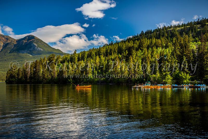 The boat dock of the Pyramid Lake Resort on Pyramid Lake in Jasper National Park, Alberta, Canada.