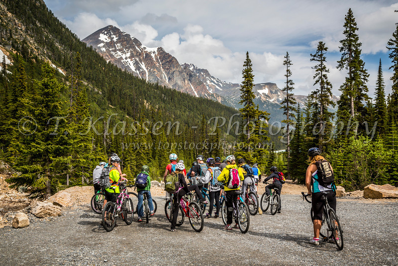 Cyclists on Mount Edith Cavell Road in Jasper National Park, Alberta, Canada.