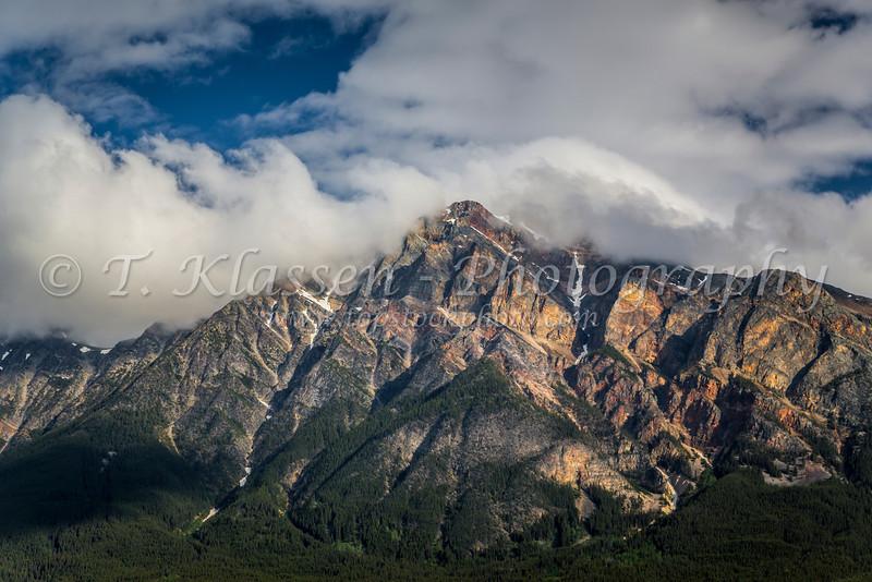 The peak of Pyramid Mountain in Jasper National Park, Alberta, Canada.