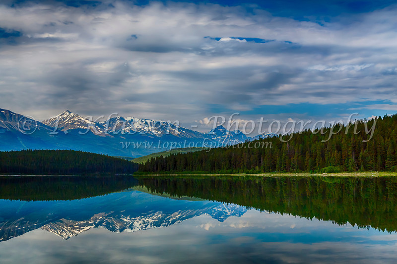 A Patricia Lake reflection in Jasper National Park, Alberta, Canada.
