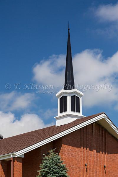The steeple of a Mormon church in Cardston, Alberta, Canada.