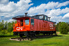The red CN caboose is a part of history located in a small park in Vegreville, Alberta, Canada.