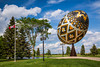 The large egg is a giant sculpture of a pysanka, a Ukrainian-style Easter egg in Vegreville, Alberta, Canada.