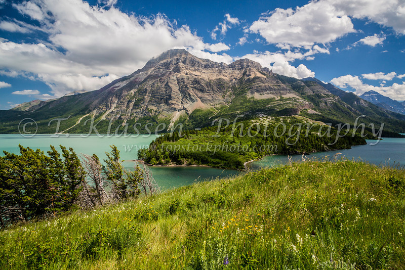Vimy mountain peak and Waterton Lake and Upper Waterton Lake in Waterton Lakes National Park, Alberta, Canada.