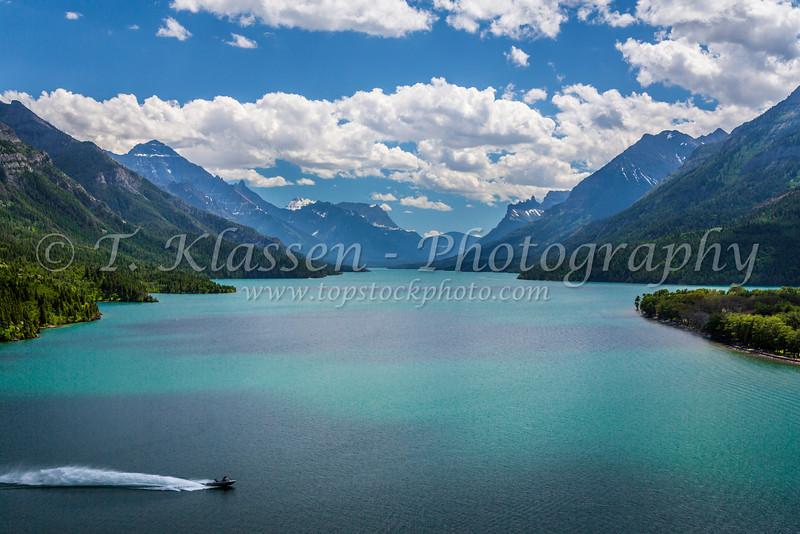 Upper Waterton Lake and mountains in Waterton Lakes National Park, Alberta, Canada.