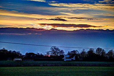 Thu 25th Dec 2014 : Stow Fen : Sunset Beyond Clouds
