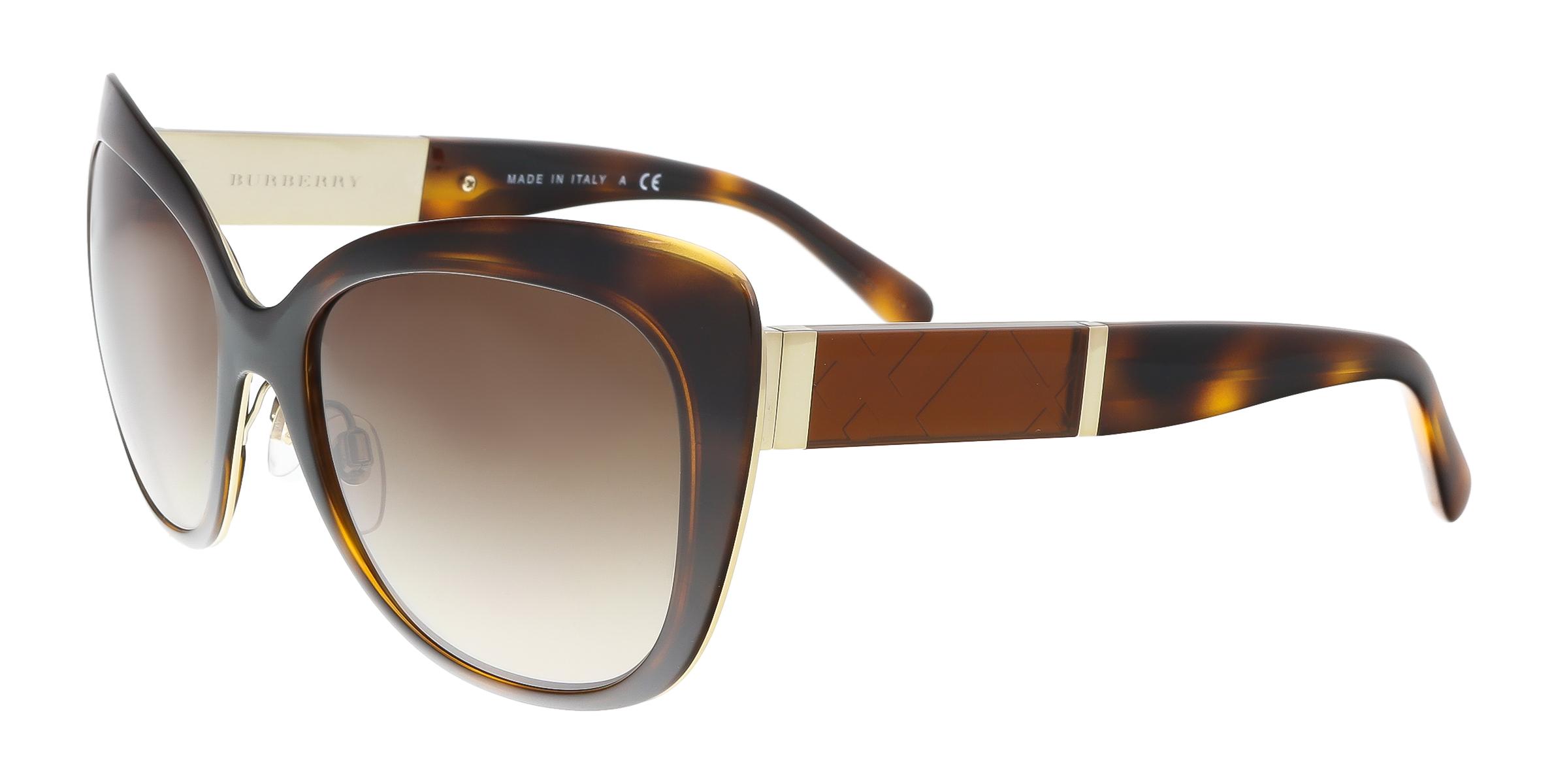 Burberry BE3088 121713 Light Gold Check Square  Sunglasses