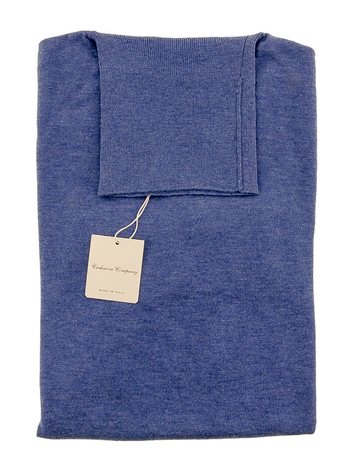 Cashmere Company DOLCE VITA CE Light Blue Roll Neck Cashmere Blend Mens Sweater