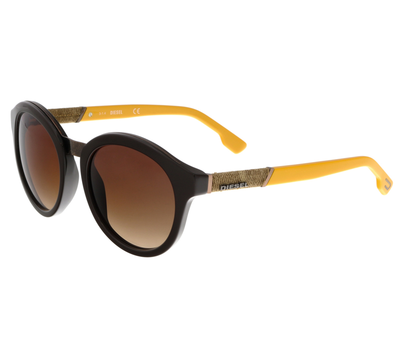 Diesel DL0090 48B Dark Brown Round Sunglasses