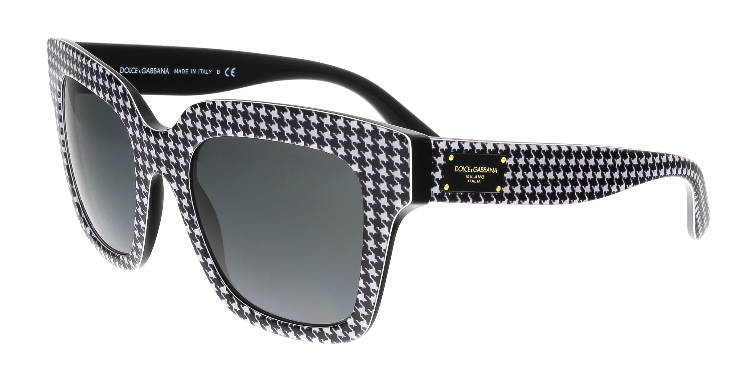 Dolce & Gabbana DG4286 307987 Black/White Square Houndstooth Sunglasses