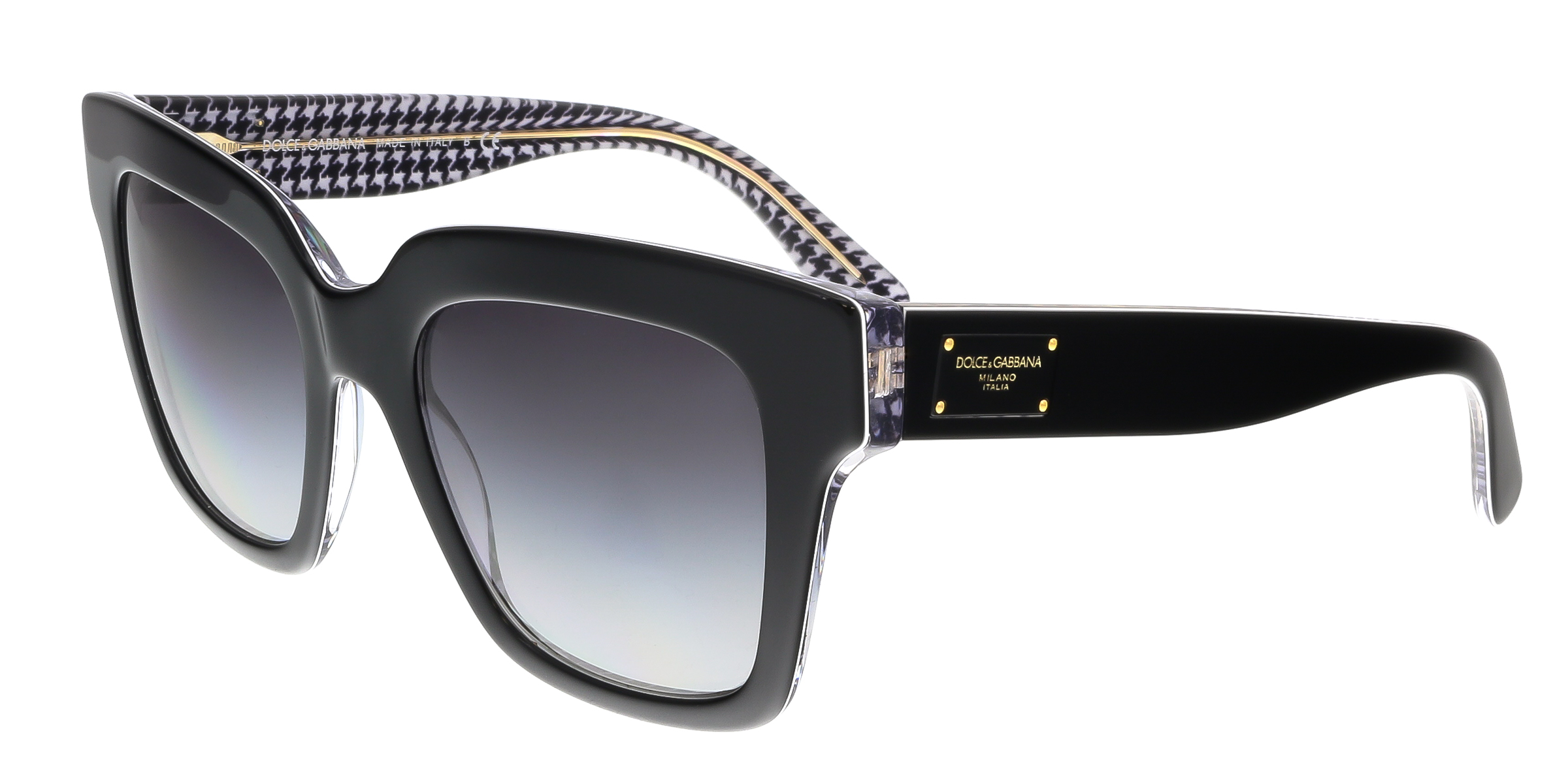 Dolce & Gabbana DG4286 30808G Black Square Houndstooth Sunglasses
