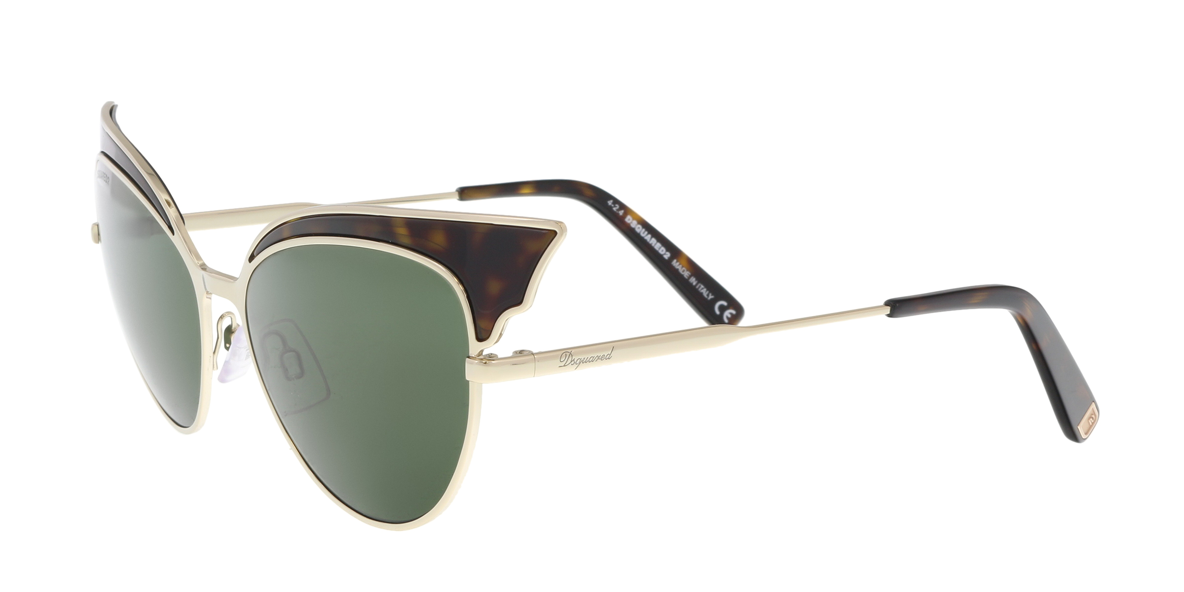 5328d53c85c5f8 Dsquared2 Lollo DQ 166 52n Sunglasses Havana Brown Gold Frame Green ...
