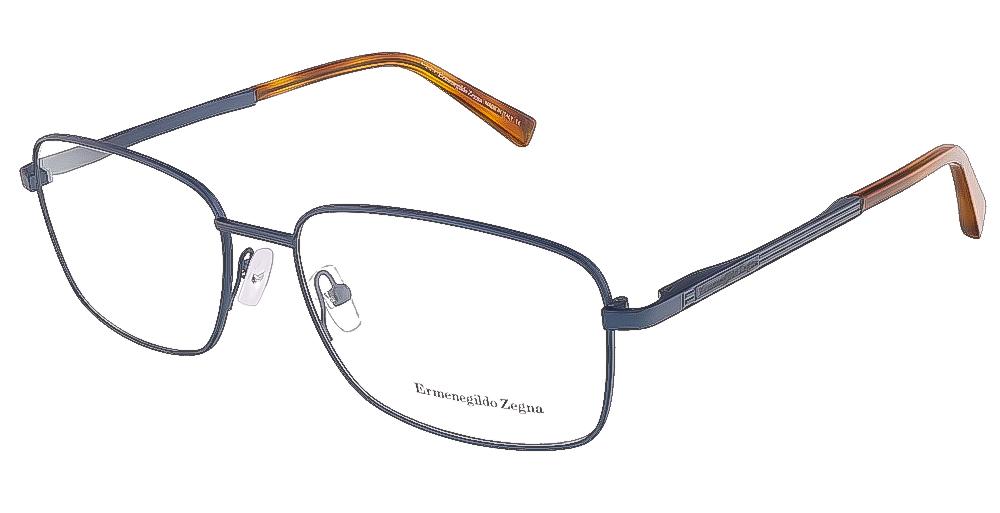 Ermenegildo Zegna EZ5021/V 092 (58) Blue/Light Havana Rectangular Opticals