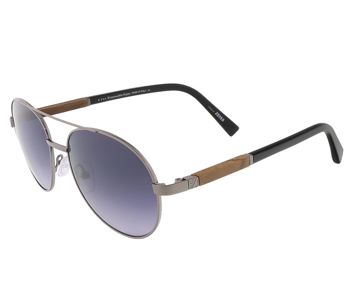 Ermenegildo Zegna EZ0013/S 08B Shiny Gunmetal/Black Aviator sunglasses