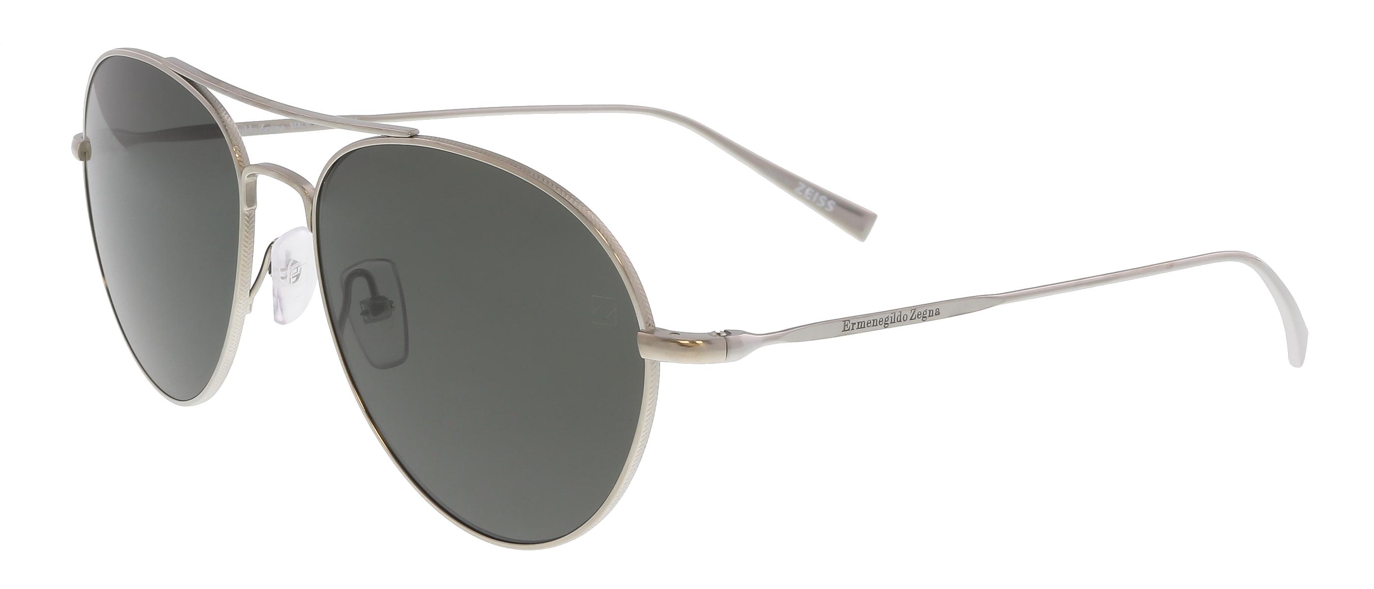 EZ0033 14D Matte Silver Aviator Feline Sunglasses