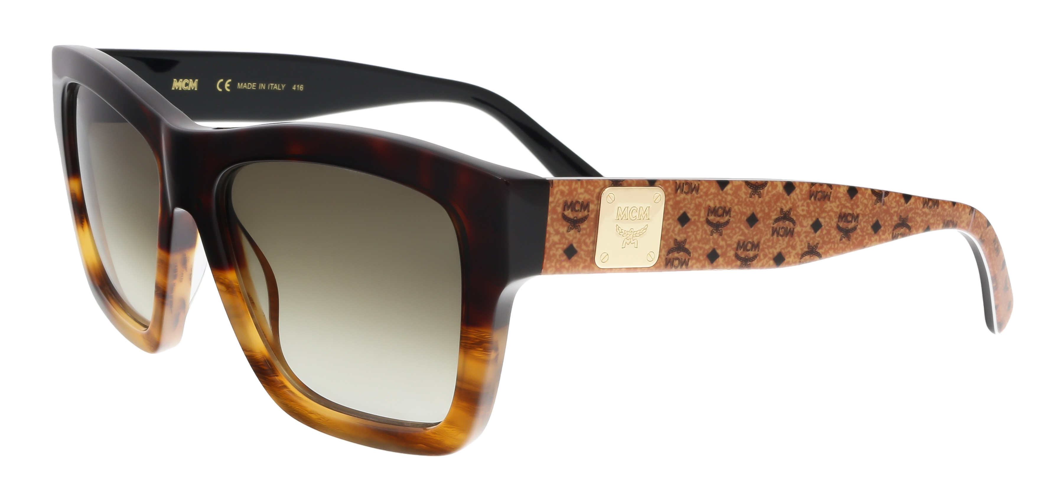 MCM607S 634 Red Havana-Striped Cognac Square Feline Sunglasses