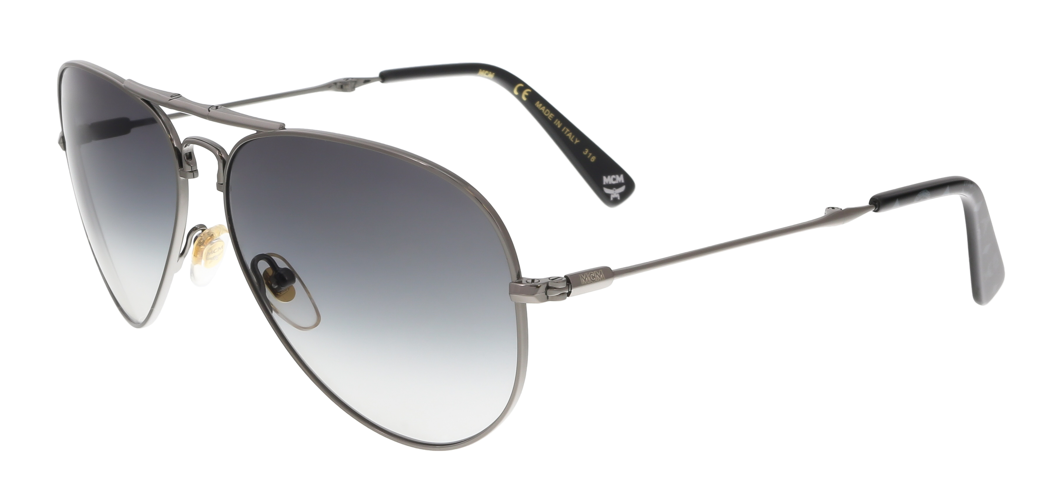 MCM101S 069 Shiny Dark Ruthenium Aviator Feline Sunglasses