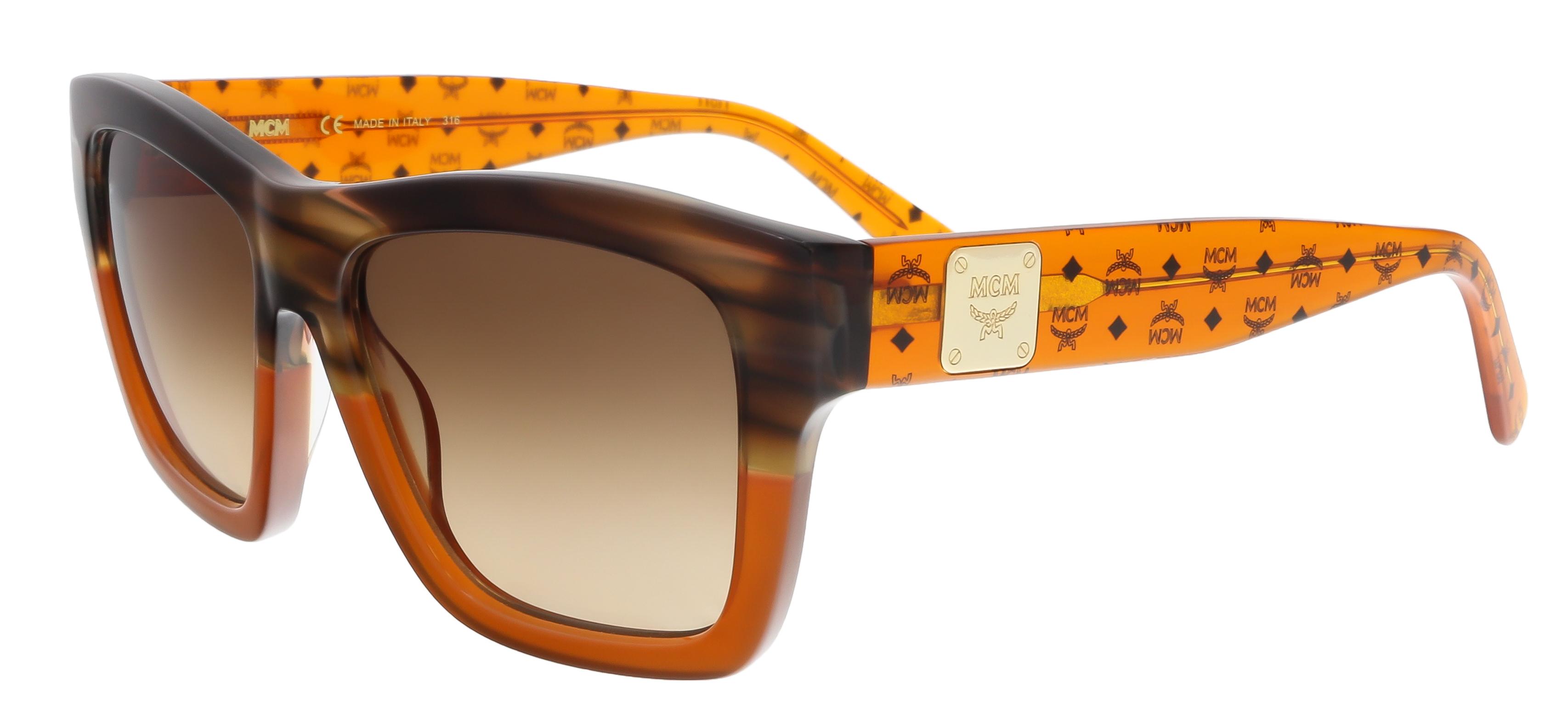 MCM607S 284 Striped Brown-Cognac Square Feline Sunglasses