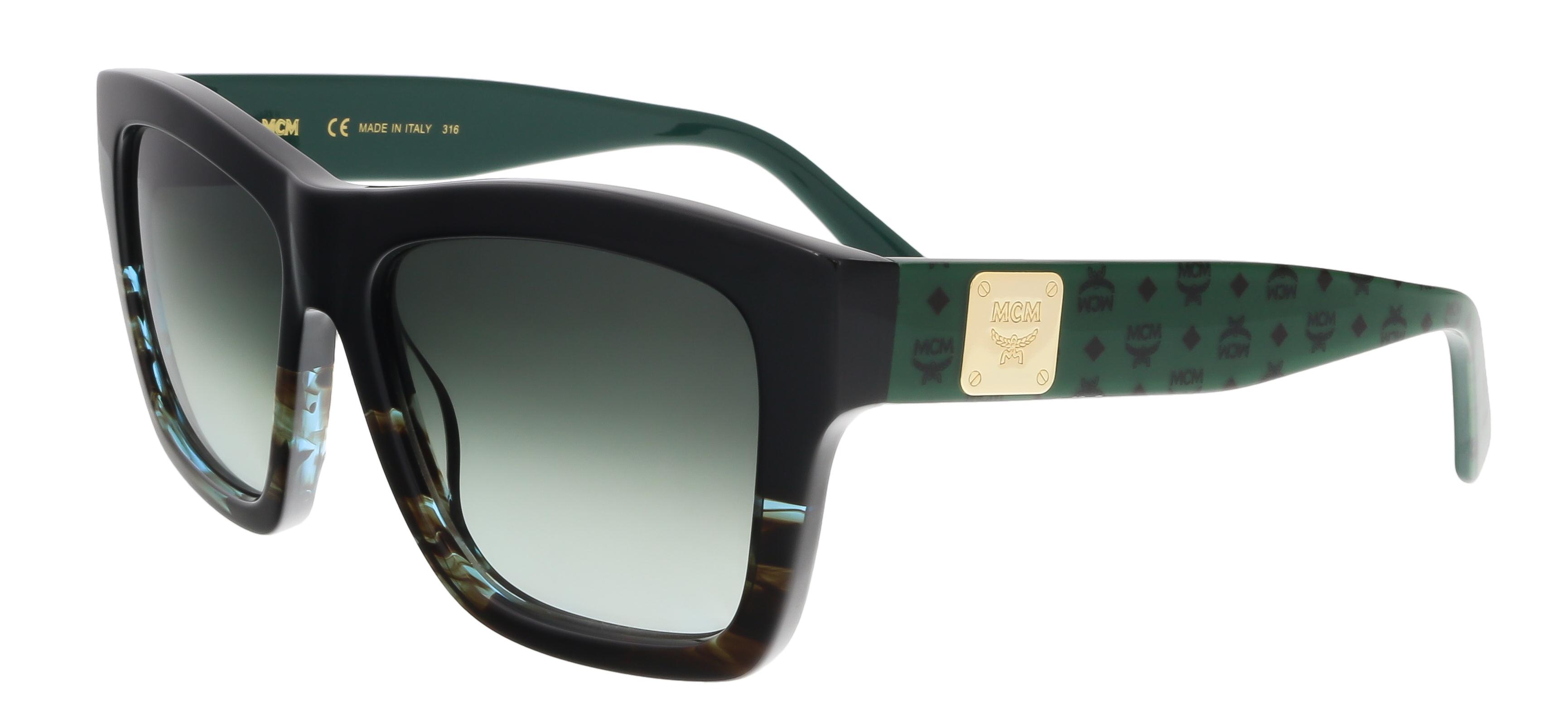 MCM607S 967 Black-Striped Aqua Square Feline Sunglasses
