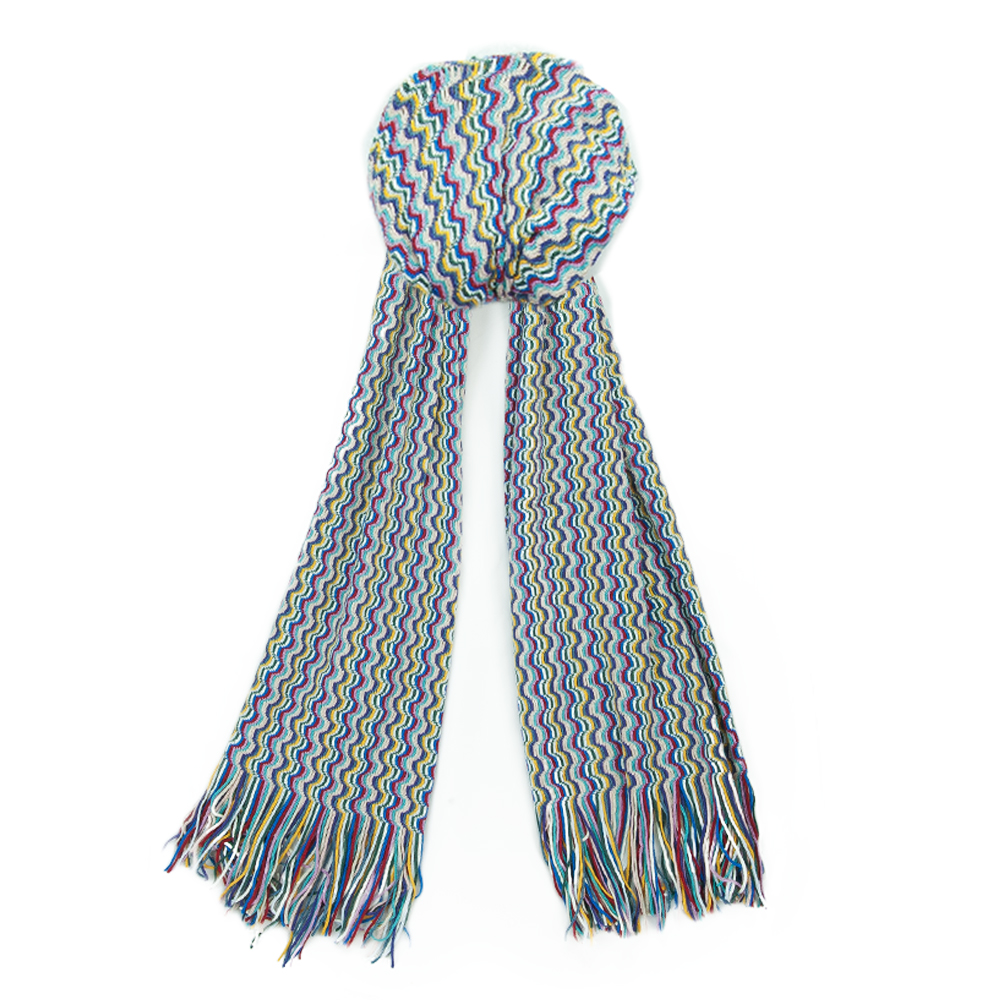 Missoni SA57WMD4690 Multicolor Zigzag Knit Wool Blend Ladies Stole