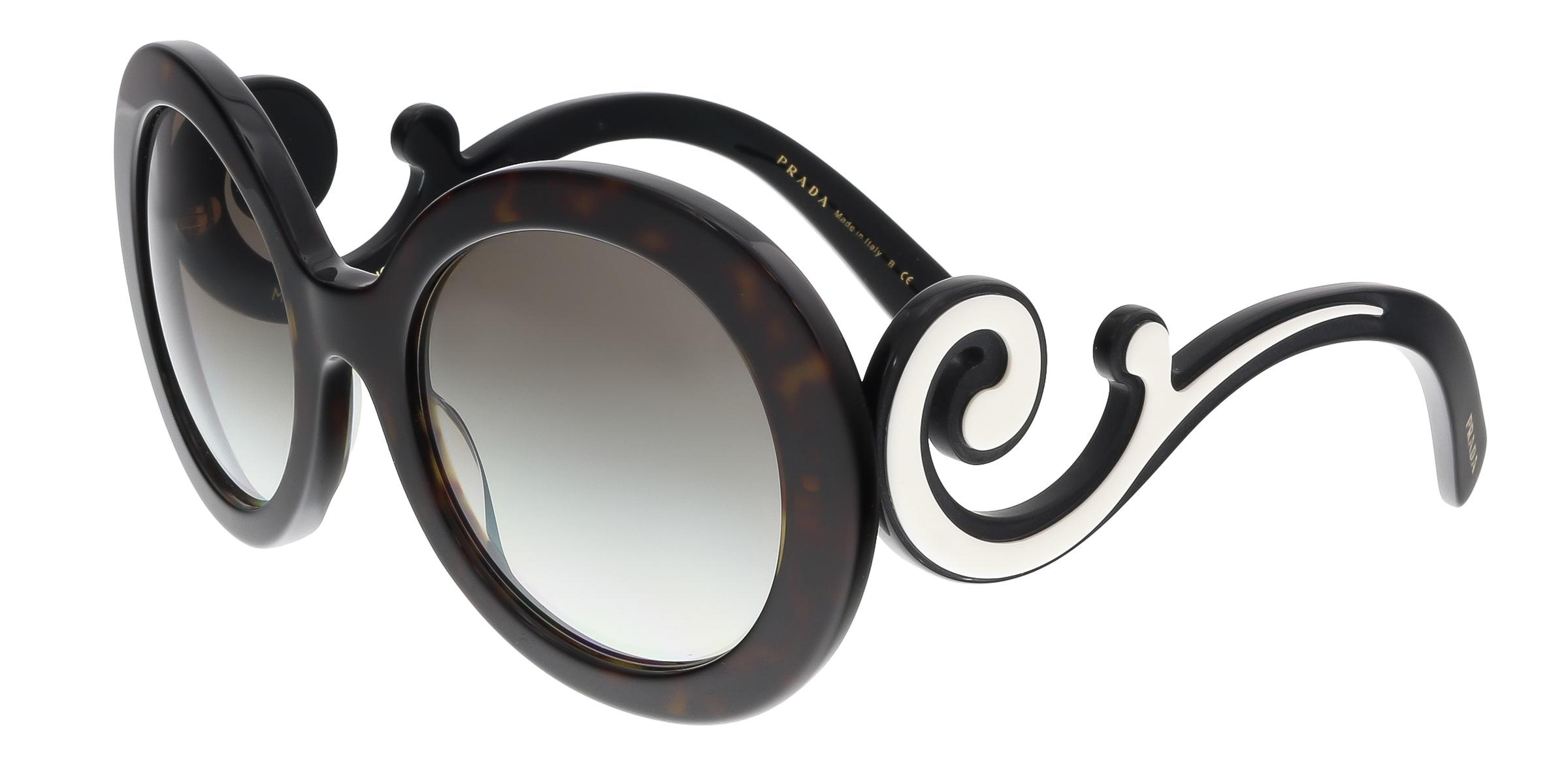 Prada PR 08TS 2AU0A7 Havana Round Minimal Baroque Sunglasses