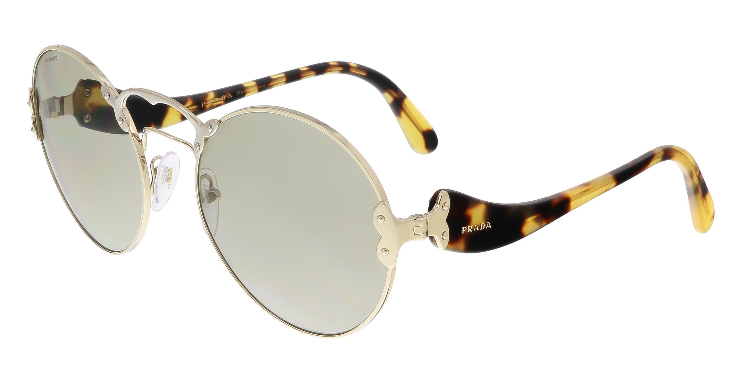 Prada PR 55TS ZVN5J2 Pale Gold/Silver Round Sunglasses