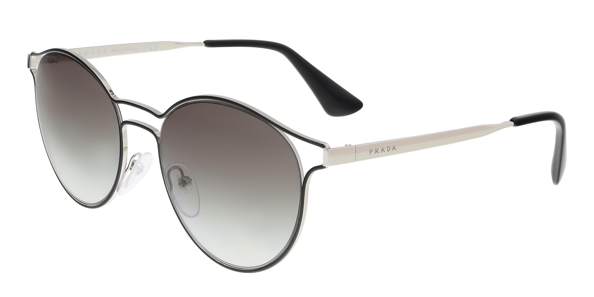 Prada PR 62SS 1AB0A7 Black Round Phantos Sunglasses