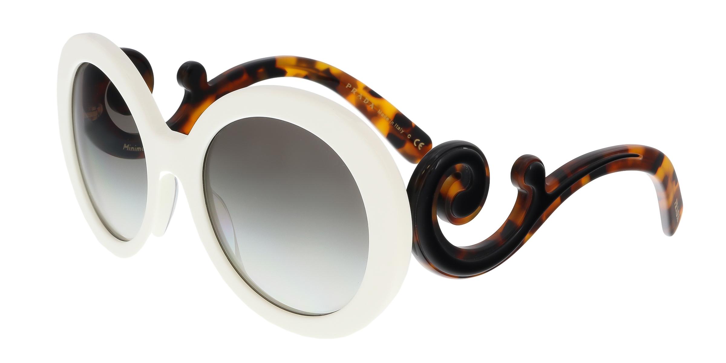 Prada PR 08TS VAG0A7 White Round Minimal Baroque Sunglasses