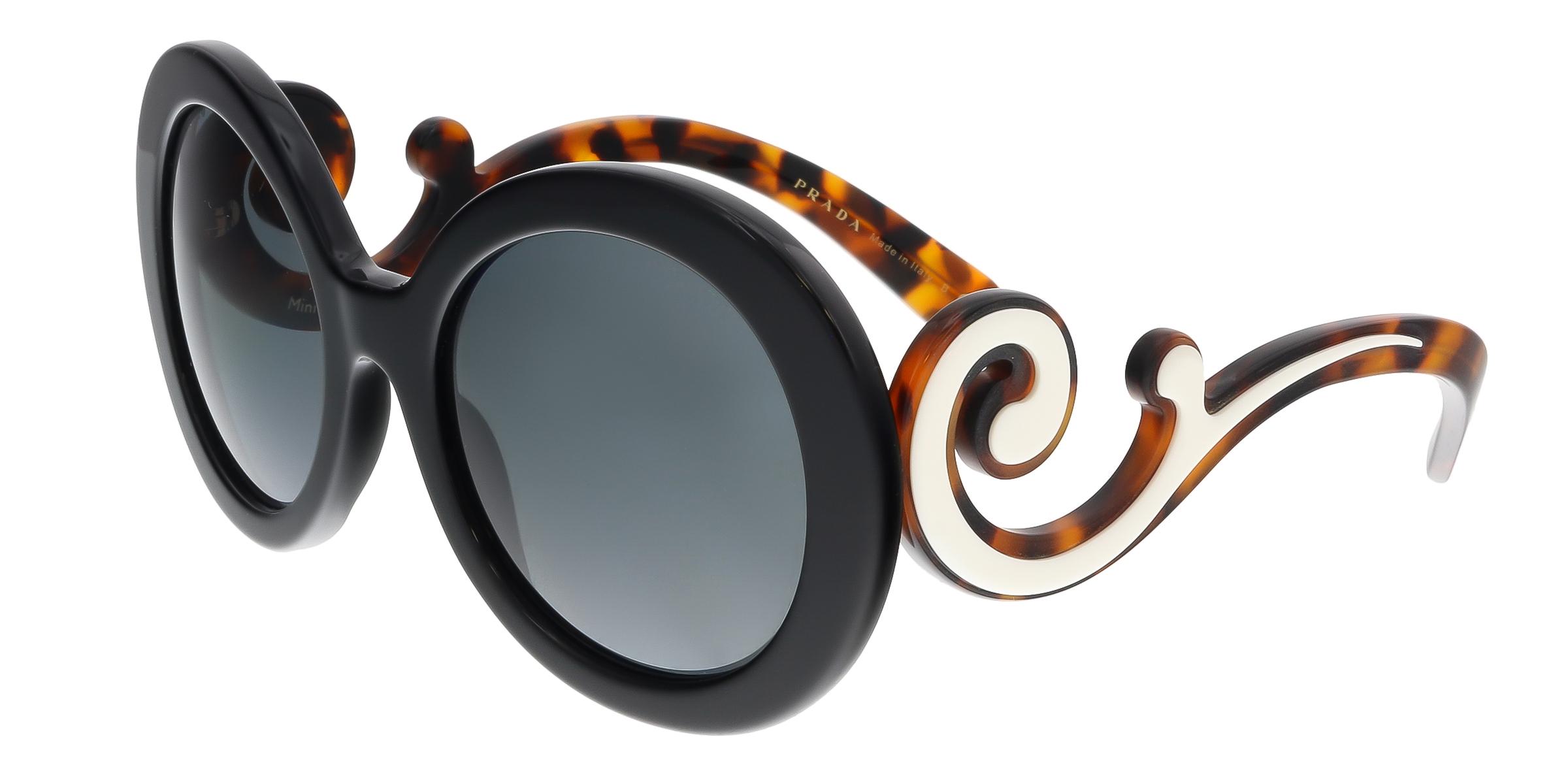 Prada PR 08TS?1AB1A1 Black Round Minimal Baroque Sunglasses