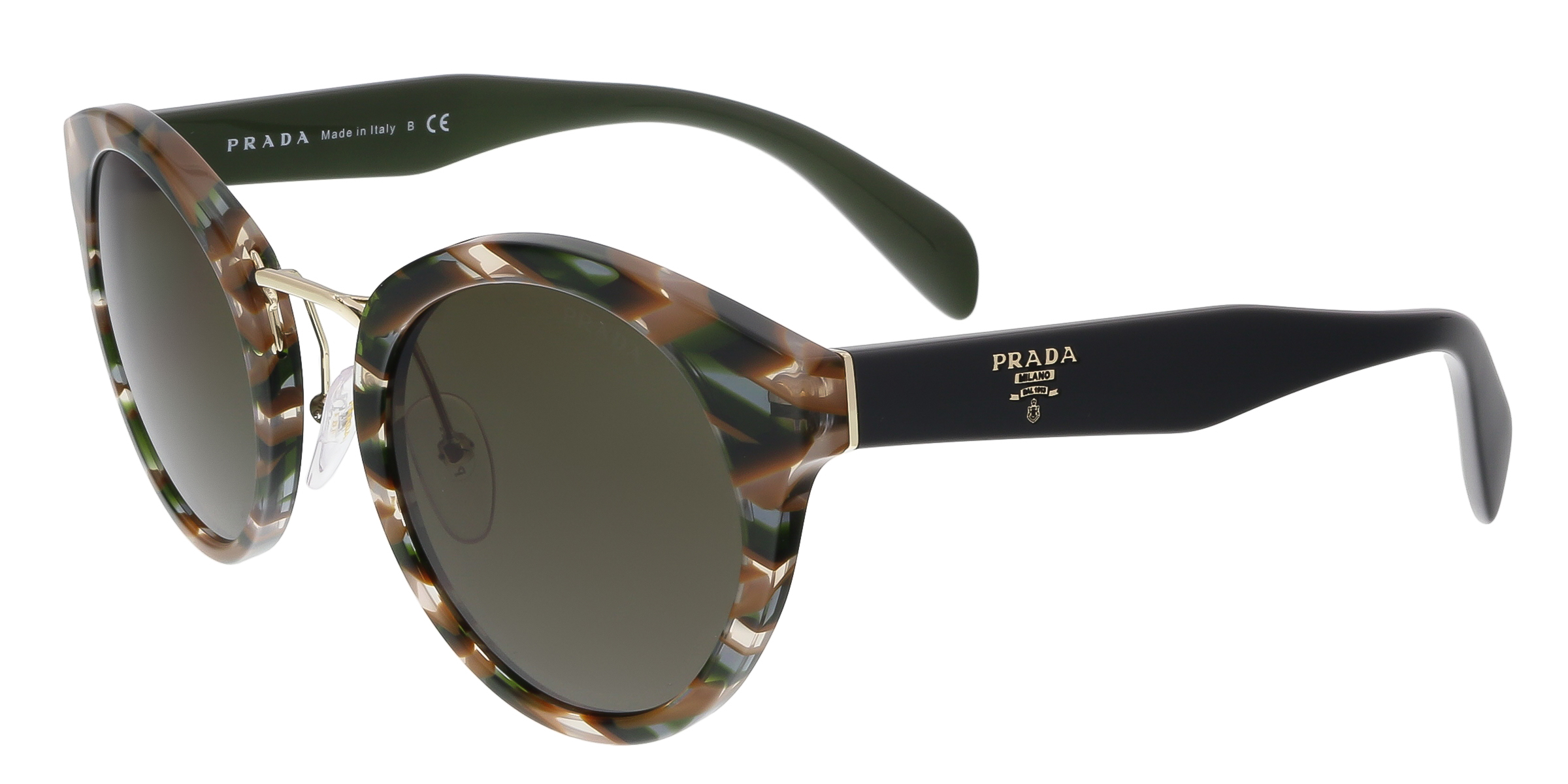 Prada PR 05TS VAO4J1 Sheaves Grey/Brown Round Phantos Sunglasses