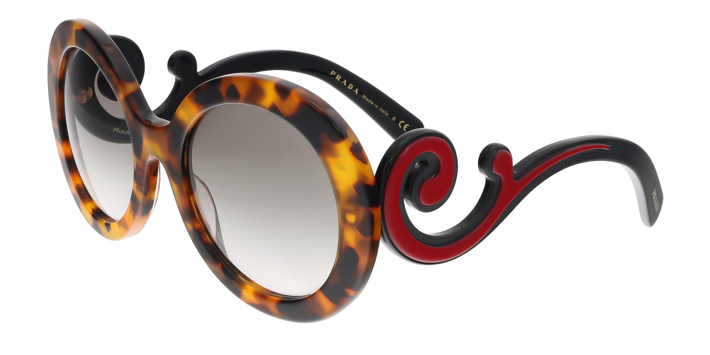 Prada PR 08TS VAH4K0 Spotted Havana Round Minimal Baroque Sunglasses