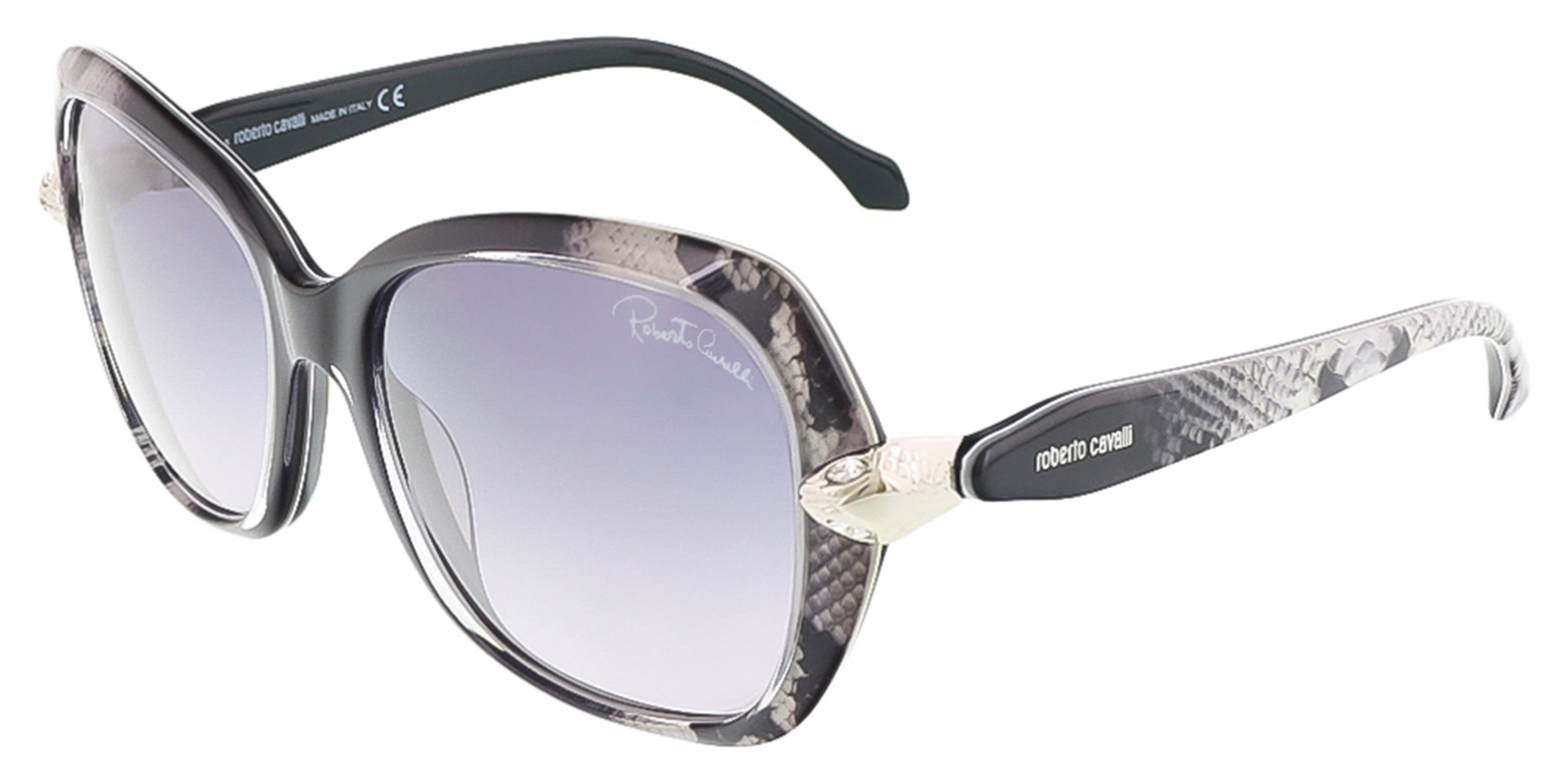 Roberto Cavalli RC876S/S 20B KOCHAB Black Snake Square sunglasses