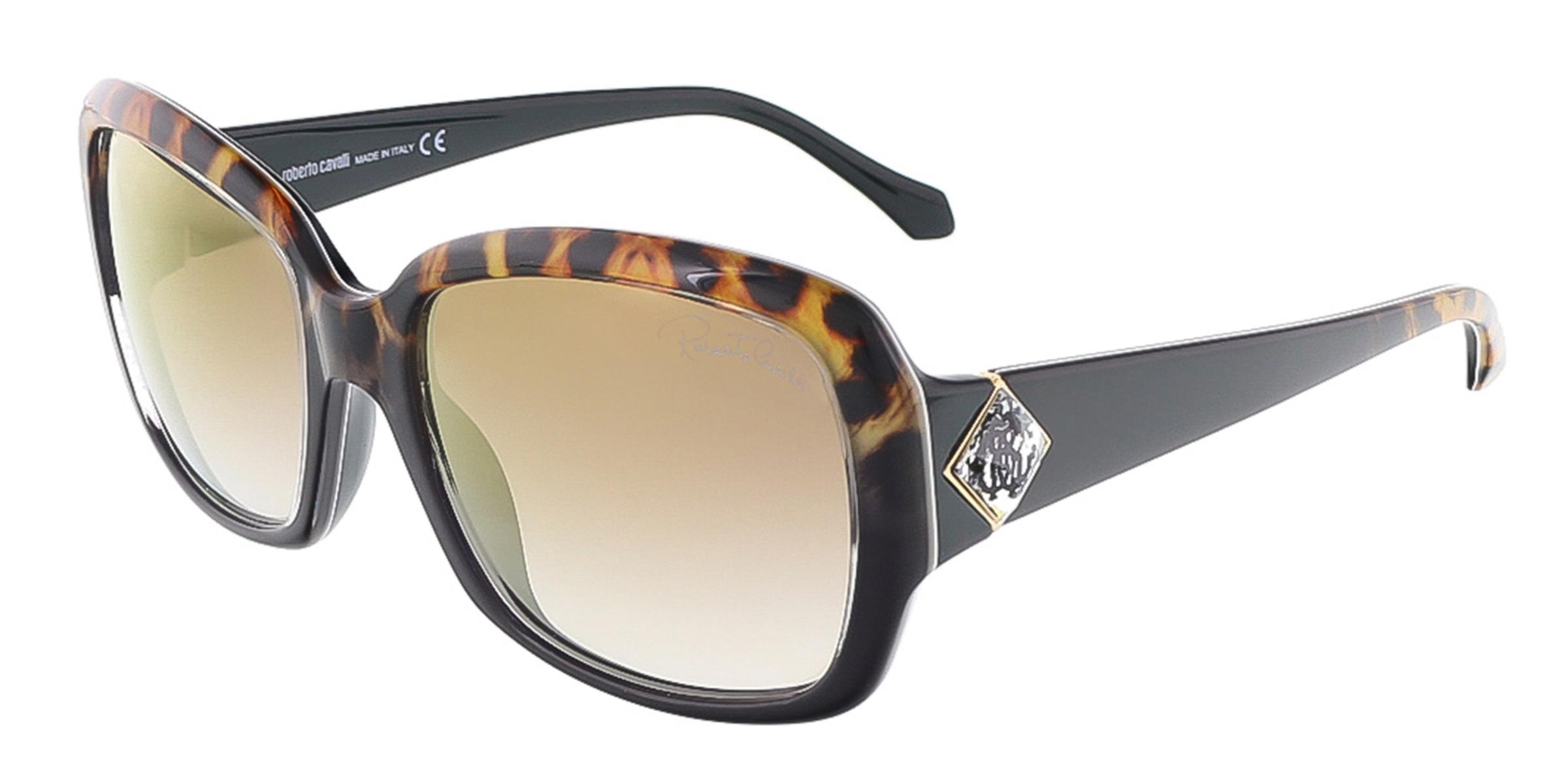 Roberto Cavalli RC881S/S 05G MAIA Black/Leopard Square sunglasses