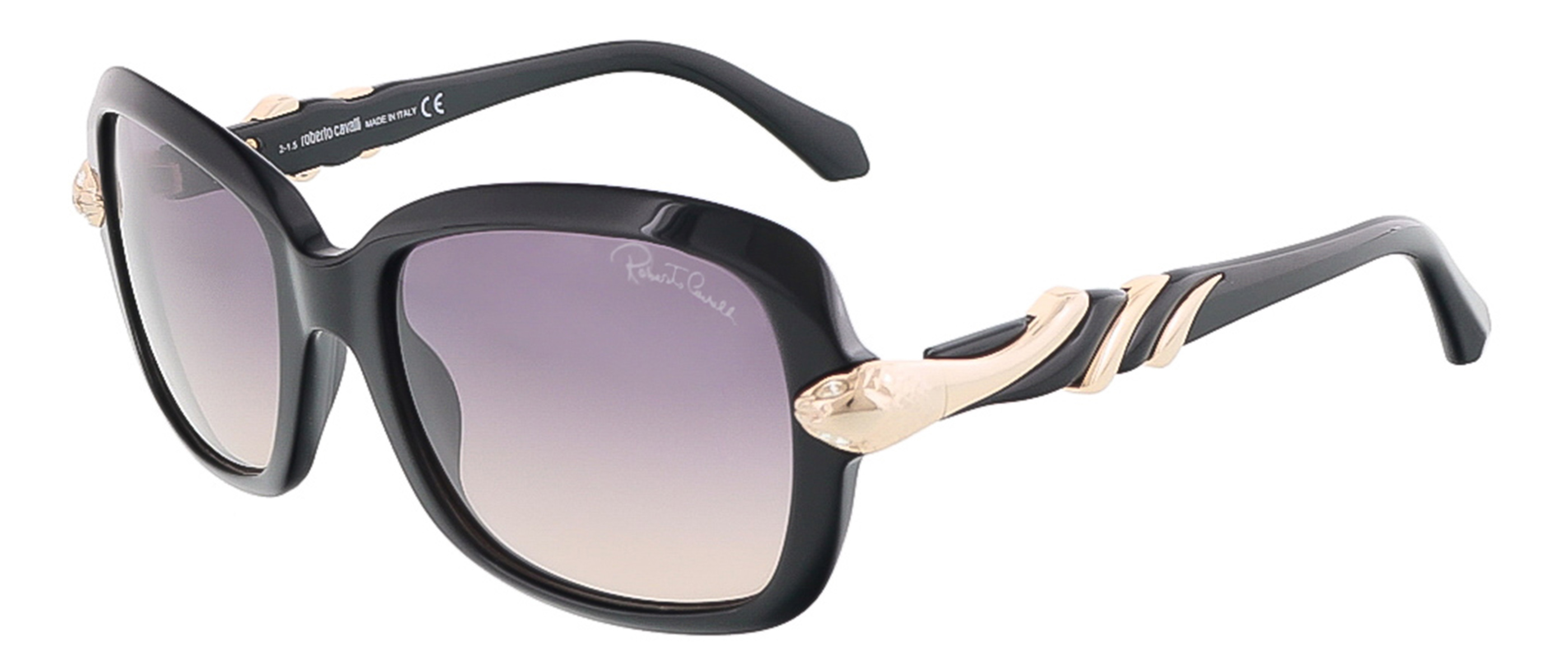 Roberto Cavalli RC879S/S 01B LESATH Shiny Black Rectangle sunglasses