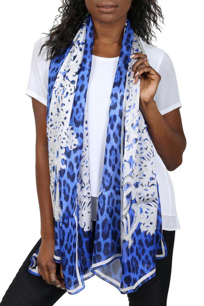 Roberto Cavalli C3802B670 320 Blue Animal Print Silk Chiffon Scarf