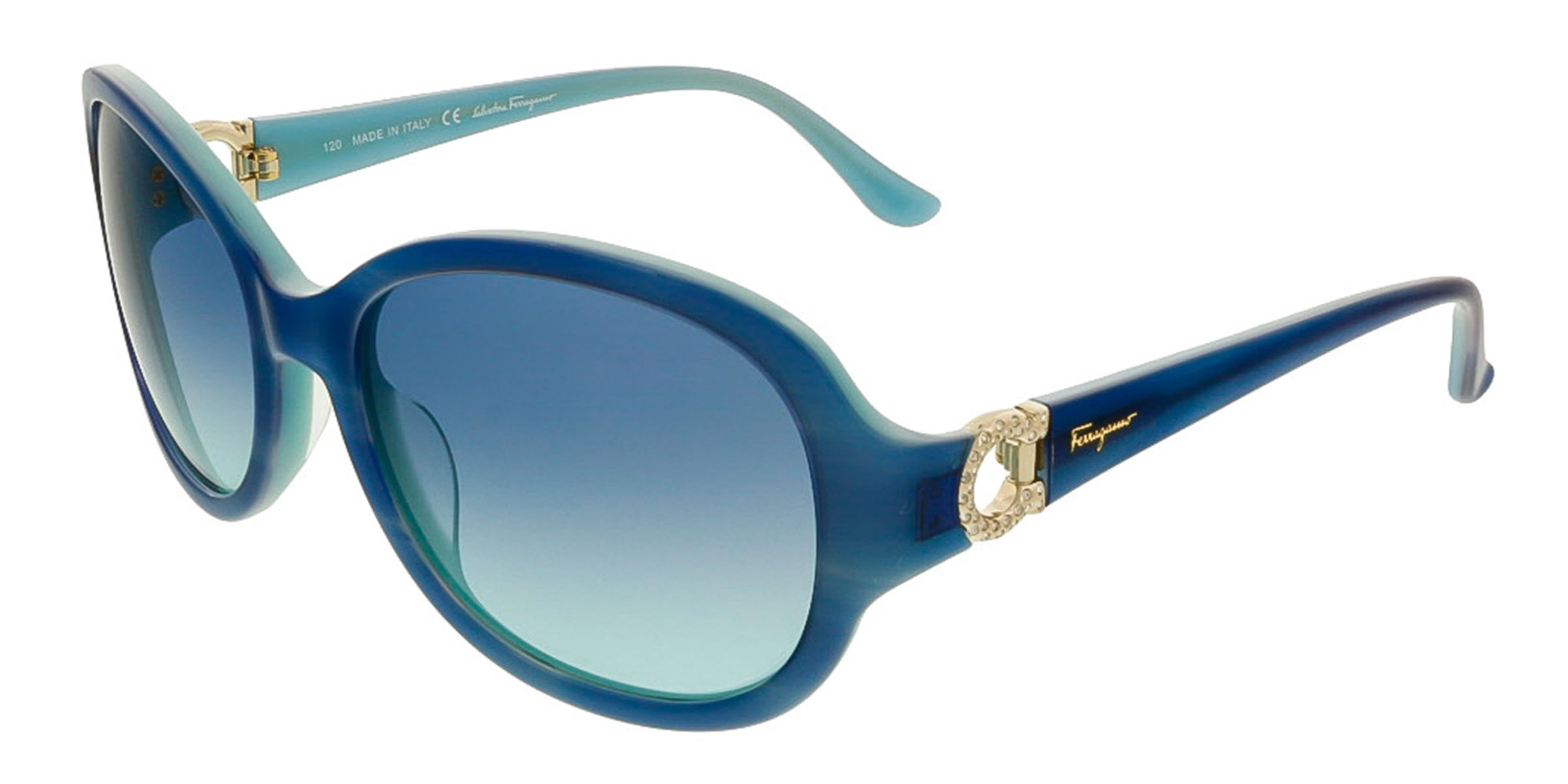 Salvatore Ferragamo SF703SR 440 Blue/Turquoise Oval Sunglasses